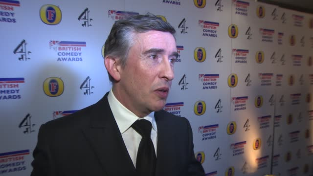 steve coogan on winning an award and the golden globes at british comedy awards at fountain studios on december 12, 2013 in london, england. - steve coogan stock videos & royalty-free footage
