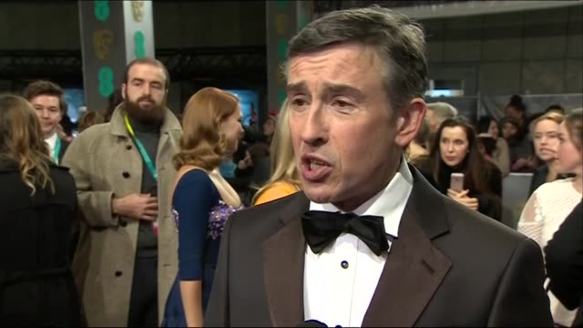 steve coogan speaks about the commercial success of philomena during red carpet interview at the baftas 2014 - 2014 stock videos & royalty-free footage