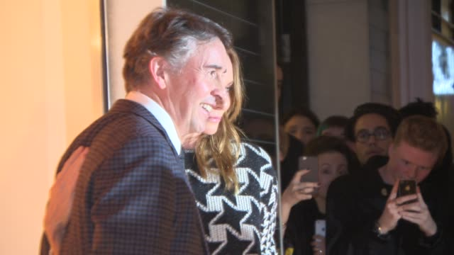 steve coogan stella mccartney pose for photographers at stella mccartney store christmas lights at stella mccartney on november 26 2014 in london... - stella mccartney marchio di design video stock e b–roll