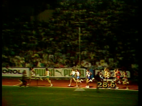 steve cram sets a world record at the 1985 bislett games - steve cram stock videos & royalty-free footage