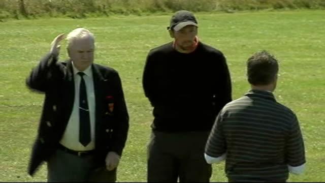 steve harmison playing golf; england: northumberland: ext steve harmison practises golf shots on driving range - driving range stock videos & royalty-free footage