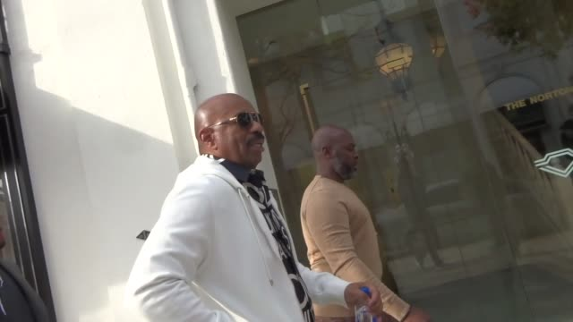 steve harvey comments on mark curry's joke stealing accusations in beverly hills in celebrity sightings in los angeles, - arts culture and entertainment stock videos & royalty-free footage