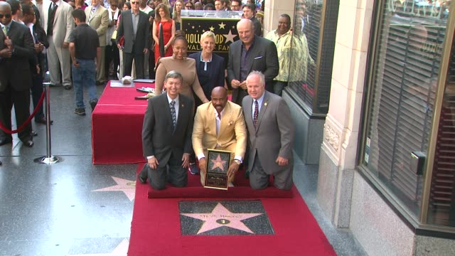 steve harvey ellen degeneres and phil mcgraw at steve harvey honored with star on the hollywood walk of fame steve harvey ellen degeneres and phil... - walk of fame stock videos & royalty-free footage