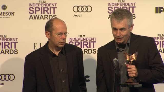 steve james and alex kotlowitz on how it feels to win at 2012 film independent spirit awards press room on 2/25/2012 in santa monica ca - independent feature project stock videos and b-roll footage