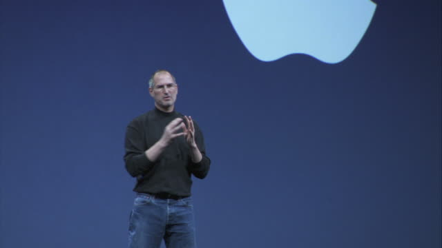 Steve Jobs makes a presentation on stage at the Macworld Expo.