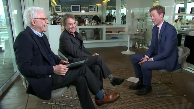 stockvideo's en b-roll-footage met steve martin and martin short interview on their new comedy tour england london int steve martin and martin short interview sot martin stew bumps... - martin short
