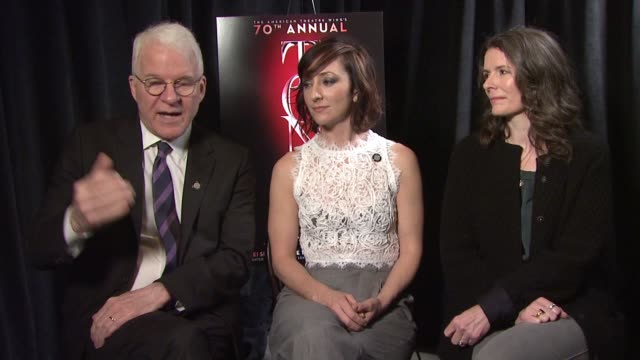 interview steve martin carmen cusack and edie brickell discuss the different aspects of their show that people find beautiful also discuss the power... - broadway show stock videos and b-roll footage