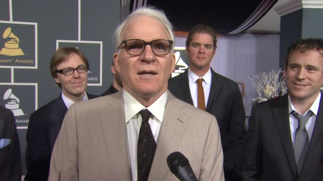 steve martin on his nomination and on attending the show at 54th annual grammy awards arrivals on 2/12/12 in los angeles ca - スティーブ マーティン点の映像素材/bロール