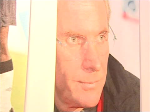 steve mcclaren takes over as england manager gives interview close up of poster of svengoran eriksson previous english national team coach - national team stock videos & royalty-free footage