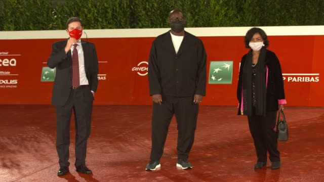 """steve mcqueen, antonio monda attend the red carpet of the movie """"small axe - ep. red white and blue"""" during the 15th rome film festival on october... - rome film festival stock videos & royalty-free footage"""