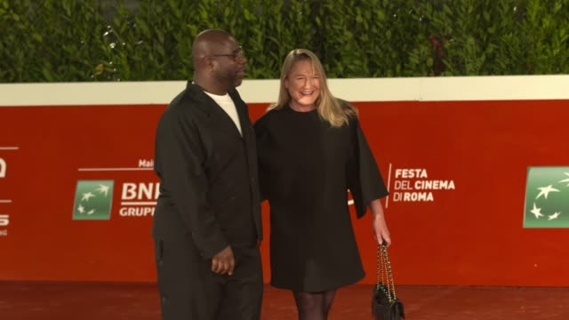 """steve mcqueen, bianca stigter attends the red carpet of the movie """"small axe - ep. red white and blue"""" during the 15th rome film festival on october... - rome film festival stock videos & royalty-free footage"""