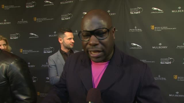 interview steve mcqueen on being a part of the afternoon what bafta's support means to him the last time he had high tea at bafta la 2014 awards... - bafta la tea party stock videos and b-roll footage