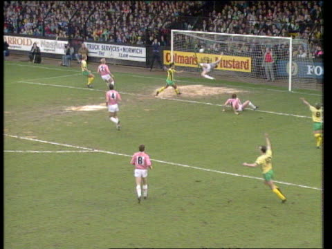 steve thompson stretches to block cross but slices ball into net to score own goal norwich vs sheffield united fa cup 5th round carrow road norwich... - soccer goal stock videos & royalty-free footage