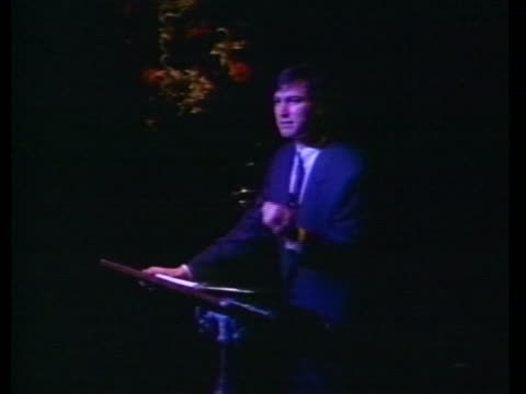 steven jobs, president of next incorporated, unveils his new computer line, next, at a business symposium in california on october 12, 1988. - business or economy or employment and labor or financial market or finance or agriculture stock videos & royalty-free footage