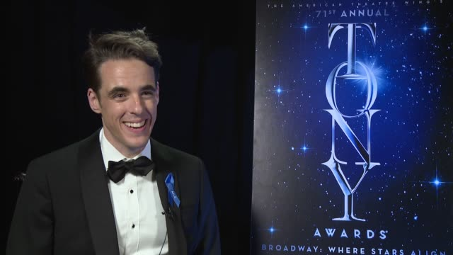interview steven levenson on winning a tony who they called immediately and how they're going to celebrate at 2017 tony awards winner's circle at... - radio city music hall stock videos & royalty-free footage
