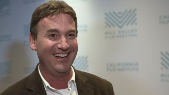 interview steven rogers on why he wrote the script tonya harding seeing the film writing for allison janney the structure of the story margot robbie... - proiezione evento pubblicitario video stock e b–roll