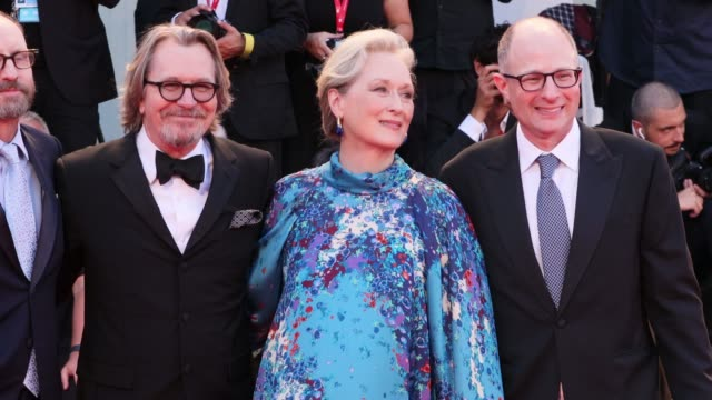 """steven soderbergh, gary oldman, meryl streep and jake bernstein walk the red carpet ahead of the """"the laundromat"""" screening during the 76th venice... - gary oldman stock videos & royalty-free footage"""