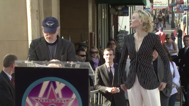 steven spielberg and cate blanchett at the cate blanchett receives a star on the hollywood walk of fame at los angeles ca - steven spielberg stock videos & royalty-free footage