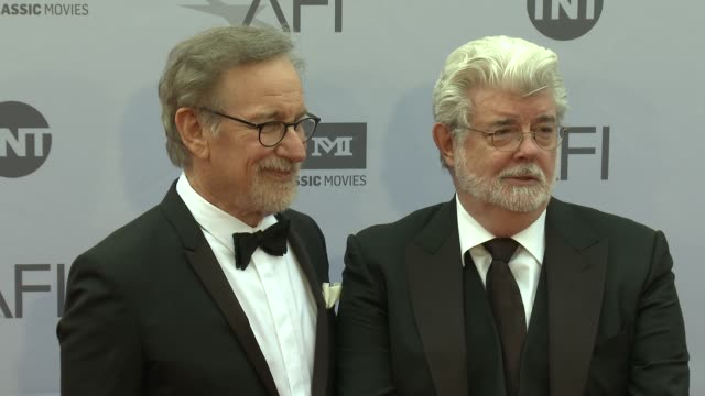 Steven Spielberg and George Lucas at the AFI Life Achievement Awards A Tribute To John Williams at Dolby Theatre on June 09 2016 in Hollywood...