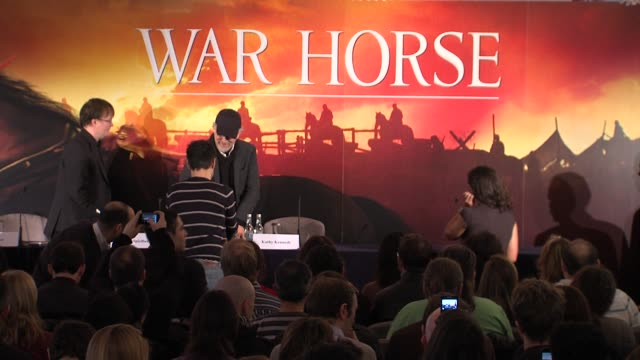 steven spielberg and kathleen kennedy at the war horse press conference part one at claridge's hotel, london, uk on 9th january 2012 - claridge's stock videos & royalty-free footage