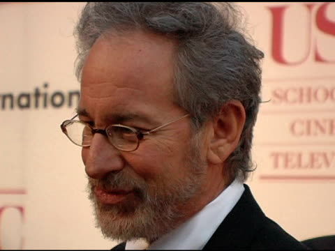 Steven Spielberg at the USC School of Film and Television's 75th Anniversary Gala Interviews at Hobart Auditorium in Los Angeles California on...