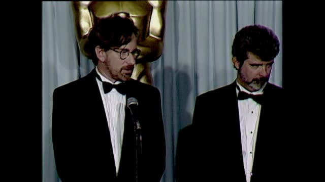 Steven Spielberg George Lucas 1990 Academy Awards Press Room discuss Akira Kurosawa