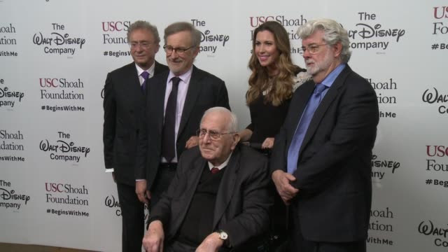 steven spielberg george lucas stephen a cozen sandy cozen arnold spielberg at ambassadors for humanity gala benefitting usc shoah foundation in los... - steven spielberg stock videos & royalty-free footage