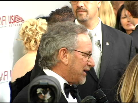 Steven Spielberg interviewed by the press at the 33rd AFI Life Achievement Award 'A Tribute to George Lucas' at the Kodak Theatre in Hollywood...