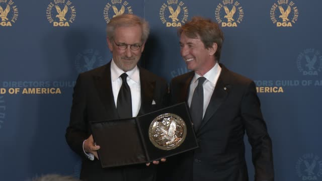 steven spielberg martin short at 65th annual directors guild of america awards press room 2/2/2013 in hollywood ca - martin short stock videos & royalty-free footage