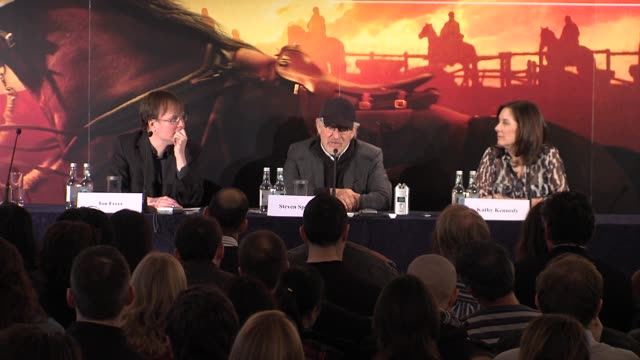steven spielberg on hoping the film brings awareness to animals contribution to the human world at the war horse press conference part one at... - claridge's stock videos & royalty-free footage