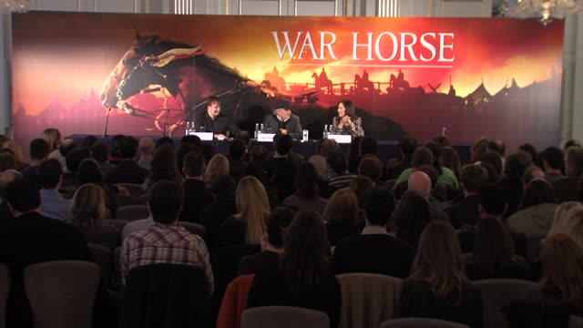 steven spielberg on how he constantly scouts for talent steven spielberg at the war horse press conference part one at claridge's hotel, london, uk... - claridge's stock videos & royalty-free footage