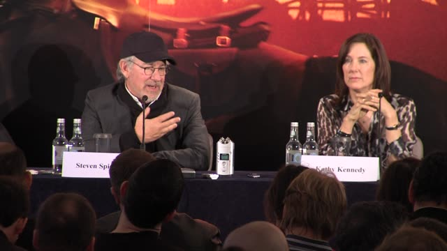 steven spielberg on how the downs in his career are all about his personal life at the war horse press conference part one at claridge's hotel,... - claridge's stock videos & royalty-free footage