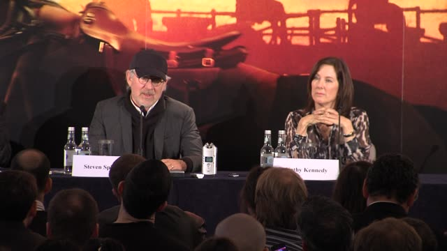 steven spielberg on the most difficult shot in the movie at the war horse press conference part one at claridge's hotel, london, uk on 9th january... - claridge's stock videos & royalty-free footage
