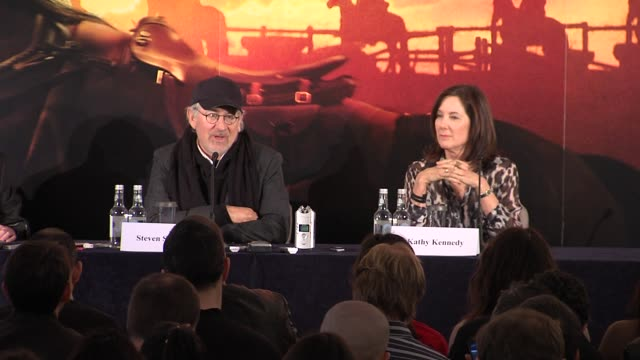 steven spielberg on the story at the war horse press conference part one at claridge's hotel, london, uk on 9th january 2012 - claridge's stock videos & royalty-free footage