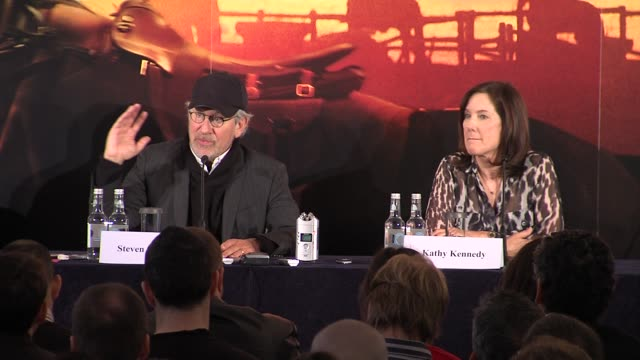steven spielberg on where he drew inspiration for his production from at the war horse press conference part one at claridge's hotel, london, uk on... - claridge's stock videos & royalty-free footage