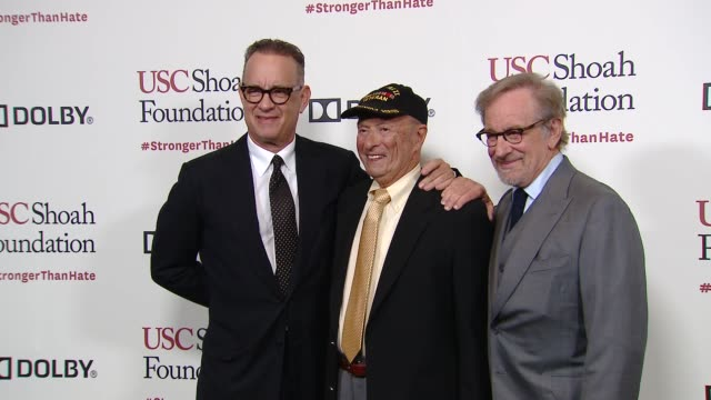 steven spielberg tom hanks glenn l felner at kate capshaw steven spielberg and usc shoah foundation honor rita wilson tom hanks at ambassadors for... - martin short stock videos & royalty-free footage