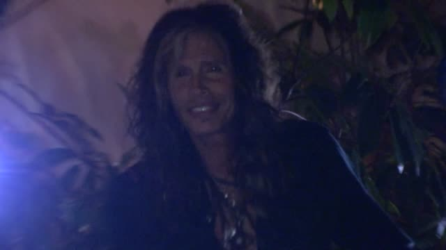 steven tyler and bodyguard make quick getaway from chateau marmont at celebrity sightings in los angeles steven tyler and bodyguard make quick... - bodyguard stock videos & royalty-free footage
