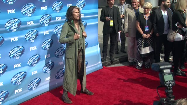 steven tyler at the american idol xiv grand finale arrivals at dolby theatre on may 13 2015 in hollywood california - american idol stock videos and b-roll footage