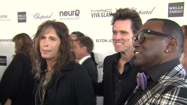 INTERVIEW Steven Tyler Jim Carrey Randy Jackson at Elton John AIDS Foundation Presents 21st Annual Academy Awards Viewing Party Sponsored By Chopard...