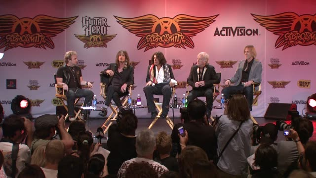 steven tyler on musicians playing guitar hero and vice versa at the aerosmith launches new guitar hero at new york ny. - steven tyler musician stock videos & royalty-free footage