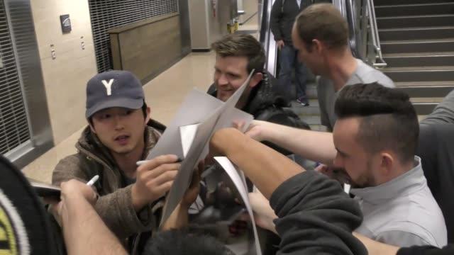 Steven Yeun arriving to the Sundance Film Festival at Salt Lake City Airport in Utah in Celebrity Sightings in Park City UT
