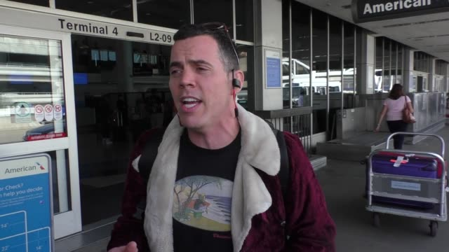 steve-o departing at lax airport in los angeles - celebrity sightings on march 02, 2016 in los angeles, california. - steve o stock videos & royalty-free footage