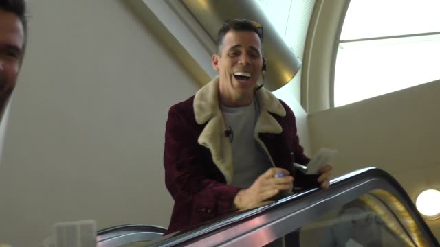 steve-o talks about donald trump while departing at lax airport in los angeles in celebrity sightings in los angeles, - steve o stock videos & royalty-free footage