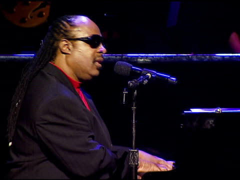 stevie wonder performing at the singers and songs celebration of tony bennett's 80th birthday by raising funds for newman�s 'hole in the wall camps'... - tony bennett singer stock videos and b-roll footage