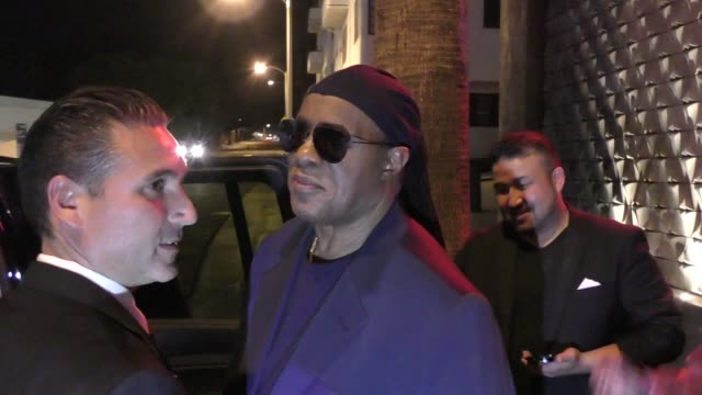 Stevie Wonder sings Happy Birthday to a young fan outside Usher's Birthday Party at Blind Dragon in West Hollywood in Celebrity Sightings in Los...