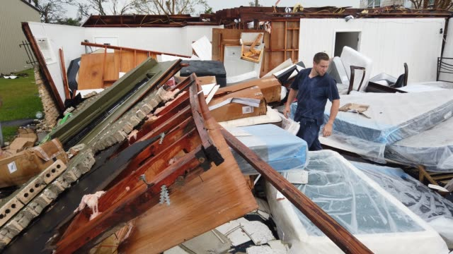stew segura salvages what he can from his store named mattress doctor after it was destroyed from hurricane laura passing through the area on august... - louisiana stock videos & royalty-free footage