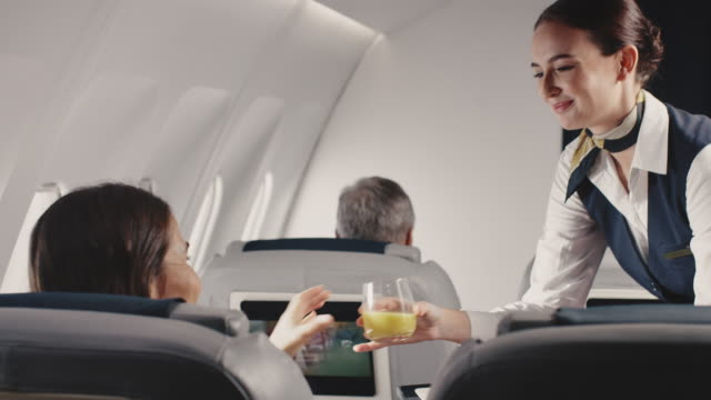 stewardess offering lunch to businesswoman in jet - crew stock videos & royalty-free footage
