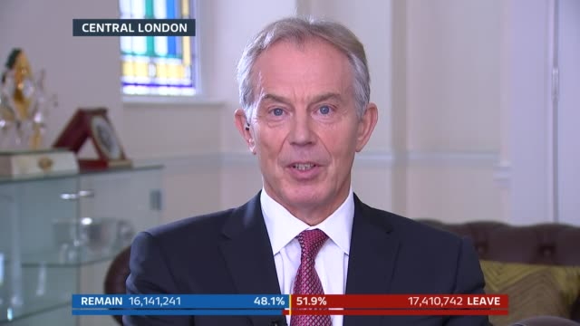 stewart interviews tony blair sot immigration is a huge challenge / we're not going to resolve it by this vote / the eu desperately needs reform... - impact stock videos and b-roll footage