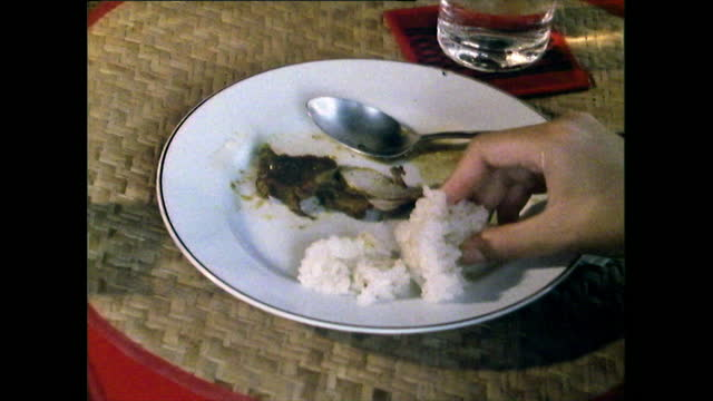 sticky rice and pork being eaten in thailand; 1989 - sticky stock videos & royalty-free footage