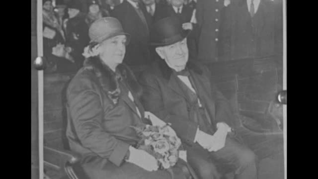 still 2shot inventor thomas edison with his wife mina miller edison he wears a top hat and she wears a fur stole as they sit in a carriage / still... - straw hat stock videos and b-roll footage